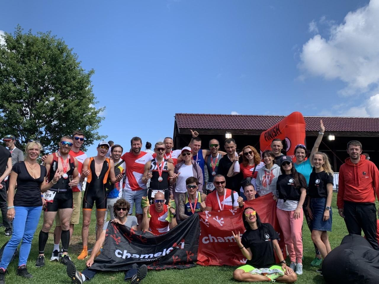 Celebrating the successful race with the Chameleon Club team